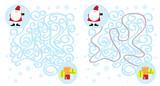 Święty Mikołaj i prezenty / łatwy labirynt dla dzieci ,rozwiązanie