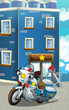 Cartoon happy and funny police car - illustration for children