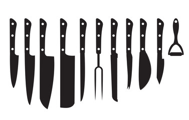 Knife Set black silhouette. Set of different knifes black silhouette icons isolated on white background. Set blade icon design element. Vector illustration;