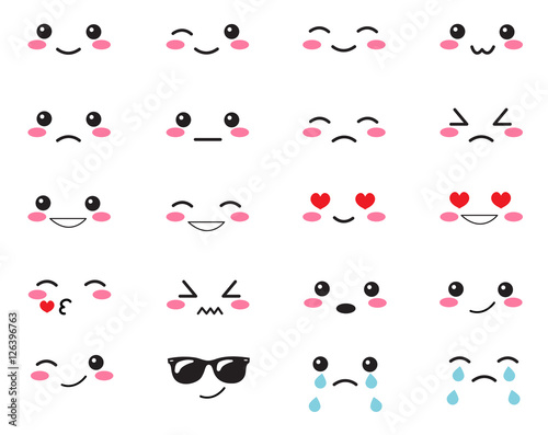 Japanese set emotions. Set Japanese smiles. Kawaii face on a white background. Cute Collection emotions anime style. Anime Smiles set - 126396763