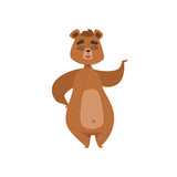 Girly Cartoon Brown Bear Character Standing And Waving Illustration