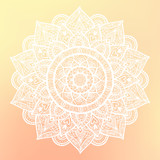 Fototapety Round mandala on dreamy gradient background. Translucent mesh pattern in the form of a mandala. Mandala with floral patterns. Yoga template.