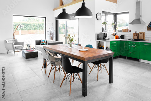 Modern dining room with dining table. Poster