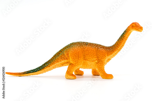 Poster Brachiosaurus dinosaur toy model on white background