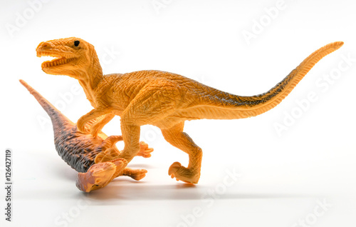 Dinosaur fight sceneon white background Poster