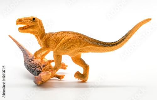 Poster Dinosaur fight sceneon white background
