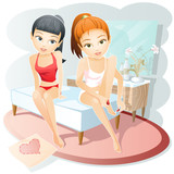 personal care / girls have fun  together