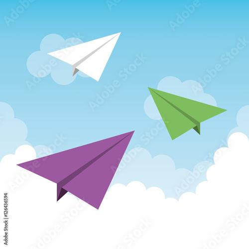 Poster paper plane flying toy vector illustration design