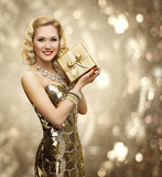 Vip Woman Present Gift Box, Retro Lady in Rich Gold Dress