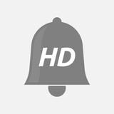 Isolated bell icon with    the text HD