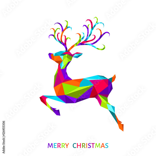 Aluminium Hipster Hert Xmas greeting card with colorful deer on white background.