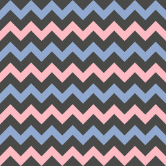 Vector Chevron seamless pattern. Colorful zigzag on black background