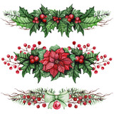Collection Of Christmas Bouquets with Poinsettia and Holly - 126459563