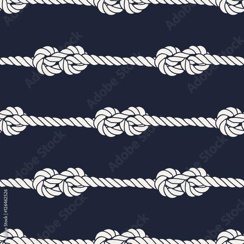 Cotton fabric Seamless nautical rope pattern - Figure 8 knots