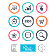 Internet, seo icons. Online shopping, charts and speed signs. Chat messages symbol. Report document, information icons. Vector