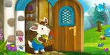 Cartoon scene of little goat in front of village house - illustration for children