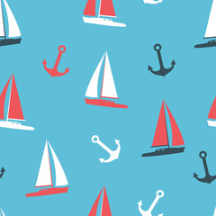 Vector illustration yachts and anchor silhouettes set