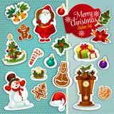 Fototapety Christmas sticker icon set for xmas design