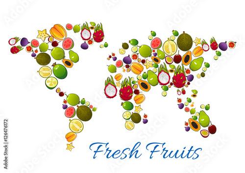 Fototapeta Fresh fruits in vector world map
