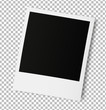 Realistic old photo frame isolated on transparent background.