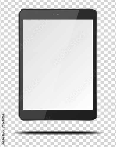 Realistic tablet pc computer with blank screen.