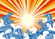 波 太陽 横 カラフル