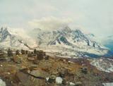 On snowy top of mountain in Himalaya, Nepal