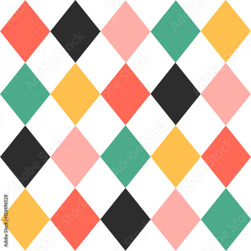 Colorful Chirstmas Chess Board Diamond Background Vector Illustration. - 126496528