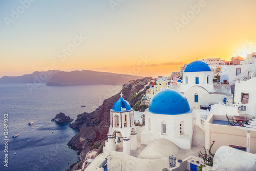Oia at sunset, Santorini island, Greece. Instagram vintage style Poster