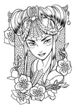 Vector illustration of a girl princess with sophisticated decoration in her hair and floral elements. Black and white, anti-stress. Adult coloring books.