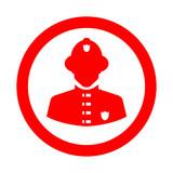 Icono plano silueta bombero en circulo color rojo