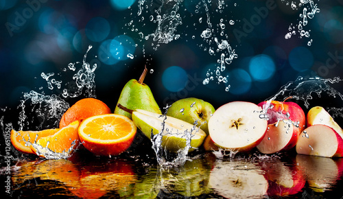 Pears, apples, orange  fruits and Splashing water - 126510526