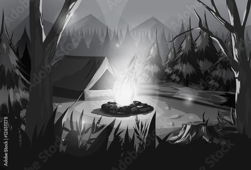 Foto op Plexiglas Fantasie Landschap Illustration of camping in the forest