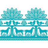 Seamless Polish folk art pattern Wycinanki Kurpiowskie - Kurpie Papercuts - 126513139