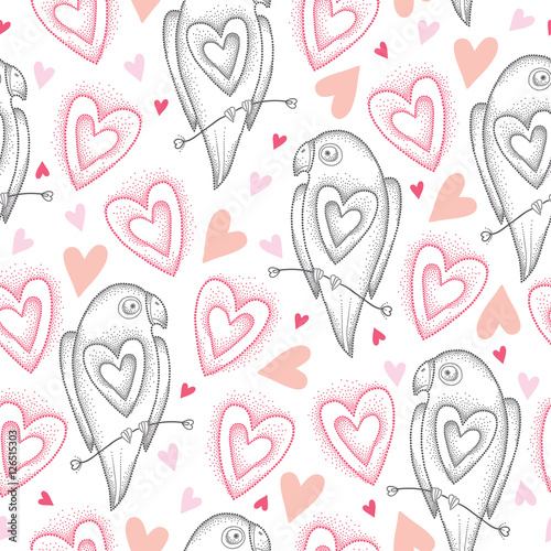 Cotton fabric Vector seamless pattern with dotted parrots and pink hearts on the white background. Design elements and holiday symbols in dotwork style. Elegance background with parrot and heart for Valentine day.