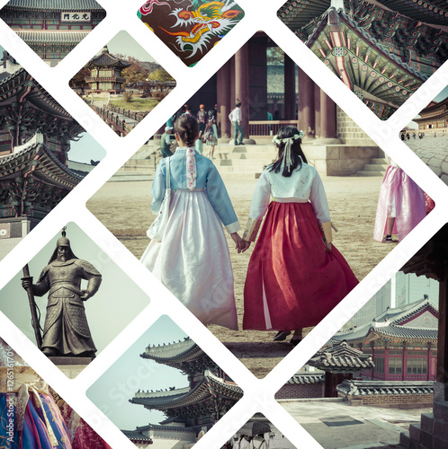 Poster Collage of Seoul ( South Korea ) images - travel background (my