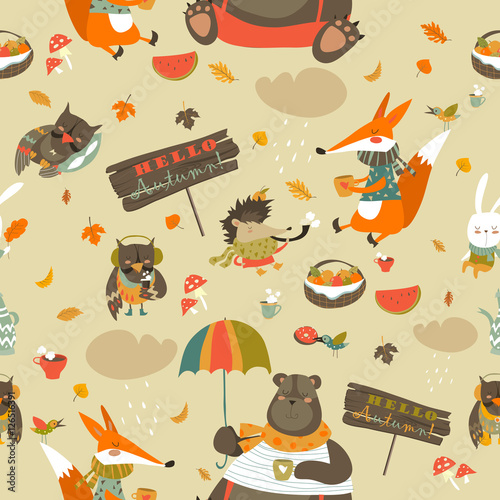 Cotton fabric Autumn forest seamless pattern with cute animals