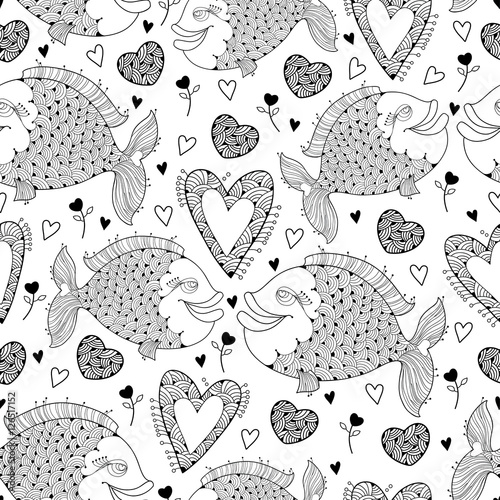 Cotton fabric Vector seamless pattern with fish and ornate heart on the white. Design elements and holiday symbols in contour style for Valentine day and coloring book. Romantic background with cute fishes in love.