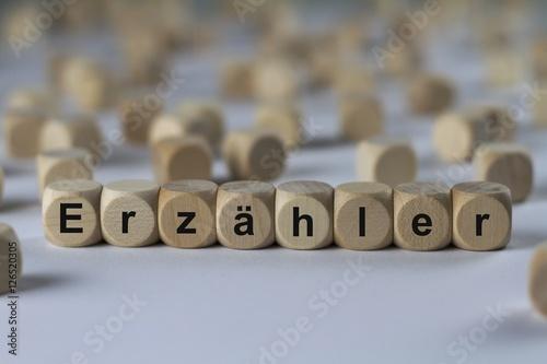 Poster Erzähler - Holzwürfel mit Buchstaben