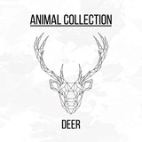 Deer head geometric lines silhouette isolated on white background vintage design element