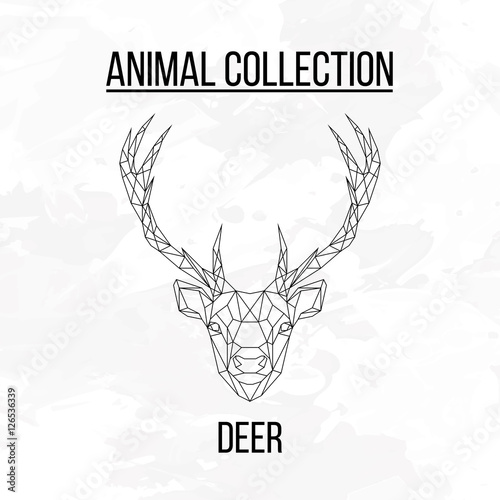 Aluminium Hipster Hert Deer head geometric lines silhouette isolated on white background vintage design element