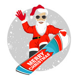 Santa Claus snowboarding jumping isolated over white background
