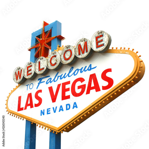 Spoed canvasdoek 2cm dik Route 66 Welcome to fabulous Las Vegas