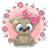 Fototapety Greeting card Bear with flowers