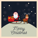 Santa and deer cartoon with sled icon. Christmas season card decoration and celebration theme. Colorful design. Vector illustration