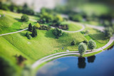 Aerial view of Olympiapark and Munich from Olympiaturm (Olympic Tower). Munich, Bavaria,  Germany. Miniature tilt shift lens effect.