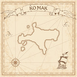 Ko Mak old treasure map. Sepia engraved template of pirate island parchment. Stylized manuscript on vintage paper.