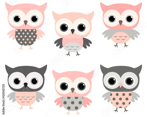 Cute pink and grey stylized owls vector set for kids designs