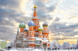 Moscow, Russia, Red square, view of St. Basils Cathedral, Russian winter