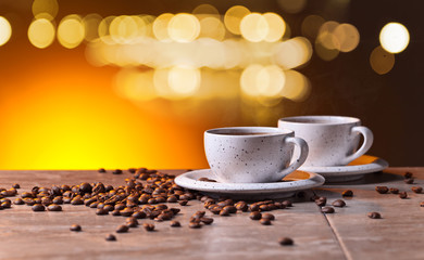Fototapeta kawa na rozświetlonym tle